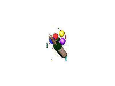 Greetings Ani Champagne N Balloons 90x120 Animated New Year