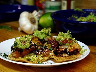 Photo Tostadas With Ancho Grilled Cod Food