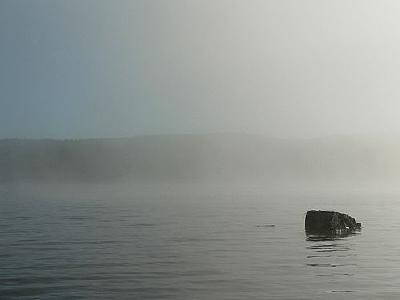 Photo Lake Rock In Morning Mist 2 Landscape