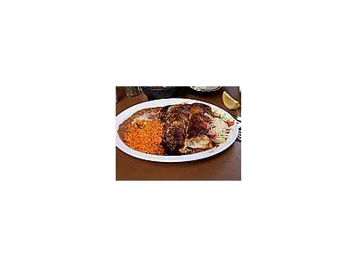 Photo Small Enchiladas Rice Beans Food