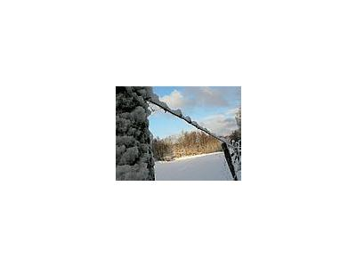 Photo Small Snowy Barbwire Fence Landscape