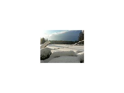 Photo Small Sunny Snowy Fields Landscape