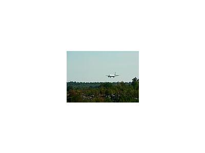 Photo Small Airplane Landing Over Woods Vehicle