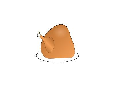Turkey On Platter 01 Animal