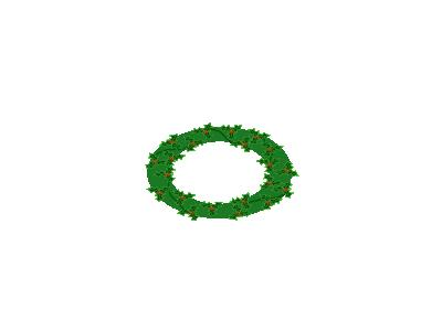 Evergreen Wreath With Large Holly 01 Decoration